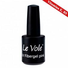 Base Coat Unghii, Le Vole Fibergel Pink, Cu Vitamina B5 si E, 15ml